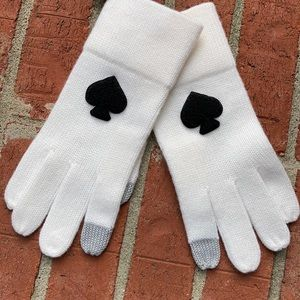 Kate Spade NY White/Black Spade Logo Knit Gloves